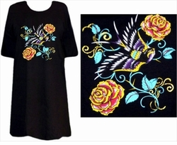 SOLD OUT! Tattoo Prints!  Sparrow & Roses Plus Size & Supersize T-Shirts
