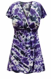 NEW! Black & Purple Tie Dye MAGIC BABYDOLL Cotton Top In Plus Size Supersize Lg XL 1x 2x 3x 4x 5x 6x 7x 8x
