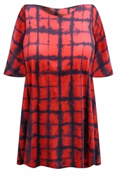 SALE! Red & Black Plaid Tie Dye Plus Size T-Shirt L XL 2x 3x 4x 5x 6x