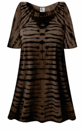 SALE! Black & Brown Striped Tie Dye Plus Size & Supersize X-Long T-Shirt 0x 1x 2x 3x 4x 5x 6x 7x 8x