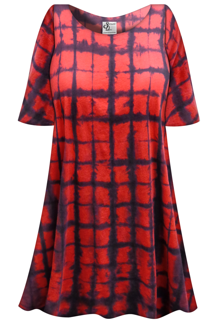 Sale Red Black Plaid Tie Dye Plus Size Supersize X