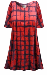 SALE! Red & Black Plaid Tie Dye Plus Size & Supersize X-Long T-Shirt 0x 1x 2x 3x 4x 5x 6x 7x 8x