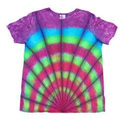 SALE! Rainbow Fan Print Tie Dye Plus Size & Supersize X-Long T-Shirt 0x 1x 2x 3x 4x 5x 6x 7x 8x