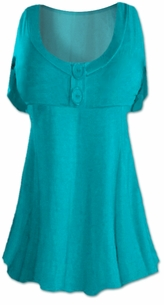 SALE! Teal Cotton Lycra Mock Button Top Plus Size & Supersize Short Sleeve Shirt