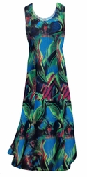 SOLD OUT! Teal Green and Purple Wild Print Princess Cut Slinky Plus Size Tank Dress 4x