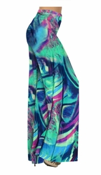 SOLD OUT! Teal Green and Purple Wild Print Slinky Special Order Customizable Plus Size & Supersize Pants, Capri's, Palazzos or Skirts! Lg to 9x