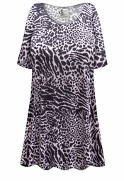 SALE! Customizable Plus Size Black & Gray Animal Print Extra Long Poly/Cotton T-Shirts 0x 1x 2x 3x 4x 5x 6x 7x 8x 9x