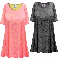 NEW! Customizable Plus Size Charcoal or Pink Semi-Sheer Burnout Print Extra Long T-Shirts Beach Coverup Tops / Swimsuit Coverups 0x 1x 2x 3x 4x 5x 6x 7x 8x 9x