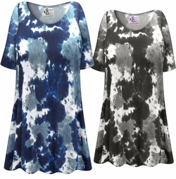 NEW! Customizable Plus Size Navy or Gray Marble Print Extra Long T-Shirts 0x 1x 2x 3x 4x 5x 6x 7x 8x 9x