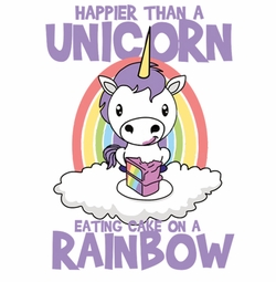 SALE! Happier Than a Unicorn Eating Cake on a Rainbow Plus Size & Supersize T-Shirts S M L XL 2x 3x 4x 5x 6x 7x 8x 9x (Light/Dark Colors)