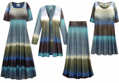 Tide Glimmer Slinky Print - Plus Size Slinky Dresses Shirts Jackets Pants Palazzo�s & Skirts - Sizes Lg to 9x