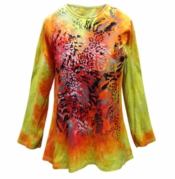 Orange & Yellow Tie Dye Animal Print Long Sleeve Plus Size T-Shirt 5x