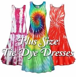 Plus Size Tie Dye Dresses (Short Sleeve/Tanks)