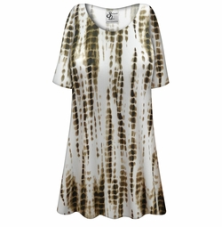 886df7aedc22b Customizable Plus Size Cream with Brown Ink Lines Slinky Print Short or  Long Sleeve
