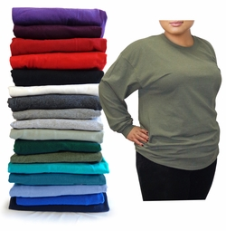 FINAL CLEARANCE SALE! Plus Size Unisex Black White Gray Red Purple Green or Blue Long Sleeve T-Shirt 2x 3x 4x 5x