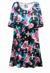Customizable Roses & Crosses Plus Size & Supersize Extra Long T-Shirts 0x 1x 2x 3x 4x 5x 6x 7x 8x 9x!