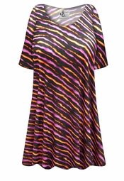 NEW! Customizable Black with Orange & Purple Diagonal Lines Print Plus Size & Supersize Extra Long T-Shirts 0x 1x 2x 3x 4x 5x 6x 7x 8x 9x