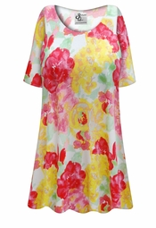 Customizable Yellow & Pink Floral Print Plus Size & Supersize Extra Long T-Shirts 0x 1x 2x 3x 4x 5x 6x 7x 8x 9x