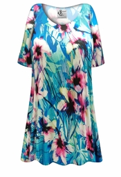 NEW! Customizable Plus Size Blue & Pink Floral Print Extra Long T-Shirts 0x 1x 2x 3x 4x 5x 6x 7x 8x 9x