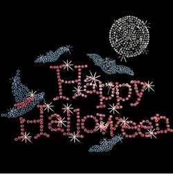 SALE! Happy Halloween Sparkly Rhinestud Rhinestones Plus Size & Supersize T-Shirts S M L XL 2x 3x 4x 5x 6x 7x 8x 9x (All Colors)