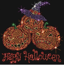 SALE! Happy Halloween 3 Pumpkins Sparkly Rhinestud Plus Size & Supersize T-Shirts S M L XL 2x 3x 4x 5x 6x 7x 8x 9x (All Colors)