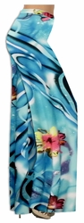 SOLD OUT! Turquoise Floral Slinky Print Special Order Customizable Plus Size & Supersize Pants, Capri's, Palazzos or Skirts! Lg to 9x