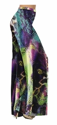 Turquoise Purple Lime Colorful Snakeskin Slinky Print Special Order Customizable Plus Size & Supersize Pants, Capri's, Palazzos or Skirts! Lg to 9x