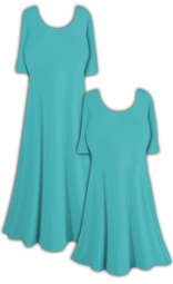 Turquoise Slinky Princess Cut Short Sleeve Plus Size & Supersize Dresses or Shirts 0x 1x 2x 3x 4x 5x 6x 7x 8x