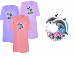 SOLD OUT! FINAL SALE! Two Dolphins Airbrush Plus Size & Supersize T-Shirts 3x (Lights Only)