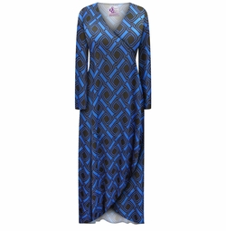 SALE! Customizable Plus Size Black & Cobalt Geometric Bubble Knit Waffle Slinky Print Cascading Wrap Dresses or Jackets Lg Xl 0x 1x 2x 3x 4x 5x 6x 7x 8x