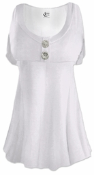 SALE! White Cotton Lycra Mock Button Top Plus Size & Supersize Short Sleeve Shirt 0x 1x 2x 3x 4x 5x 6x 7x 8x