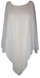 SOLD OUT! White Sheer Silver Glittery Plus Size & Supersize Ponchos!