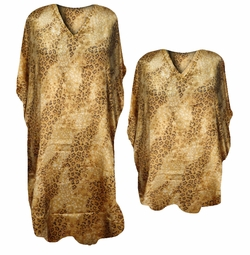 Sold Out! SALE! Wild Leopard Spots and Mini Floral Golden Print Poly/Satin Plus Size & Supersize Caftan Dress or Shirt 1x to 6x