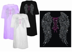 SOLD OUT! FINAL SALE! Wings & Corset Tie On Backside Rhinestuds Rhinestones Plus Size & Supersize T-Shirts 6xl