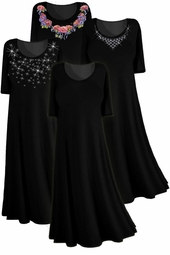 Yummy Black Slinky, Crush Velvet or Poly/Cotton Short Sleeve Plus Size & Supersize Princess Cut Dresses! 0x 1x 2x 3x 4x 5x 6x 7x 8x