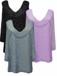 Yummy Soft Warm & Cozy V- Cowl Neck Plus Size Furry Eyelash Sweater in Many Colors Lg XL 0x 1x 2x 3x 4x 5x 6x 7x 8x