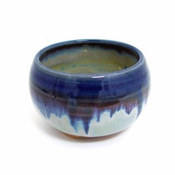Incense Bowl:Glazed Ceramic-Blue Rim