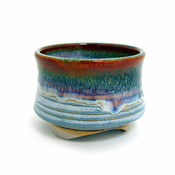 Incense Cup-Glazed Ceramic-Rust Rim
