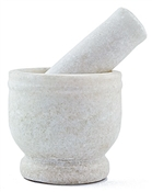 "White Marble Mortar & Pestle-2 1/4""H, 2 3/4 D"