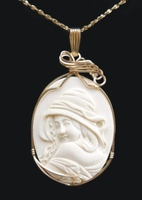 """""""Hooded Woman"""" Mammoth Ivory Pendant 14k Gold"""