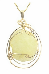 Libyan Desert Glass Jewelry Pendant Necklace 14k Gold