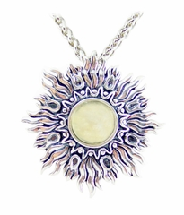 Libyan Desert Glass Sunburst Jewelry Sterling Silver Sunburst