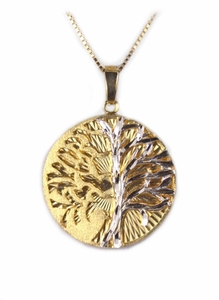 """Lightning Striking Tree"" 14k Gold, White Gold Jewelry"