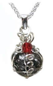 Authentic Birthstone Jewelry Necklace Pendant with Meteorite, Sterling Silver