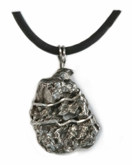 Meteorite Jewelry Pendant Necklace for Men, Stainless Steel