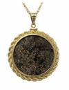 Meteorite Jewelry Pendant Necklace 14k Gold Large Coin Mount