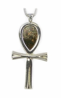 Meteorite Jewelry Pendant Necklace Large Ankh, Sterling Silver