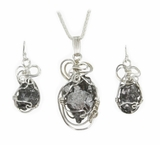 Meteorite Necklace Pendant with matching Earrings Set - Sterling Silver