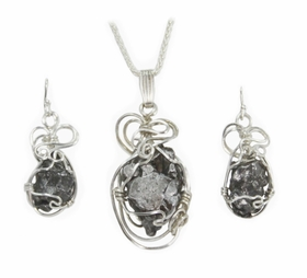 Meteorite Jewelry Pendant Necklace with matching Earrings Set, Sterling Silver