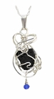 Titanic Coal Jewelry Necklace Sterling Silver Sapphire